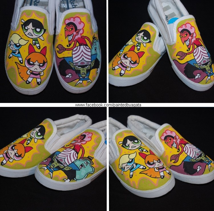 1712aca64ed99 The Powerpuff Girls Hand Painted Shoes by PaintedbyAgata on DeviantArt