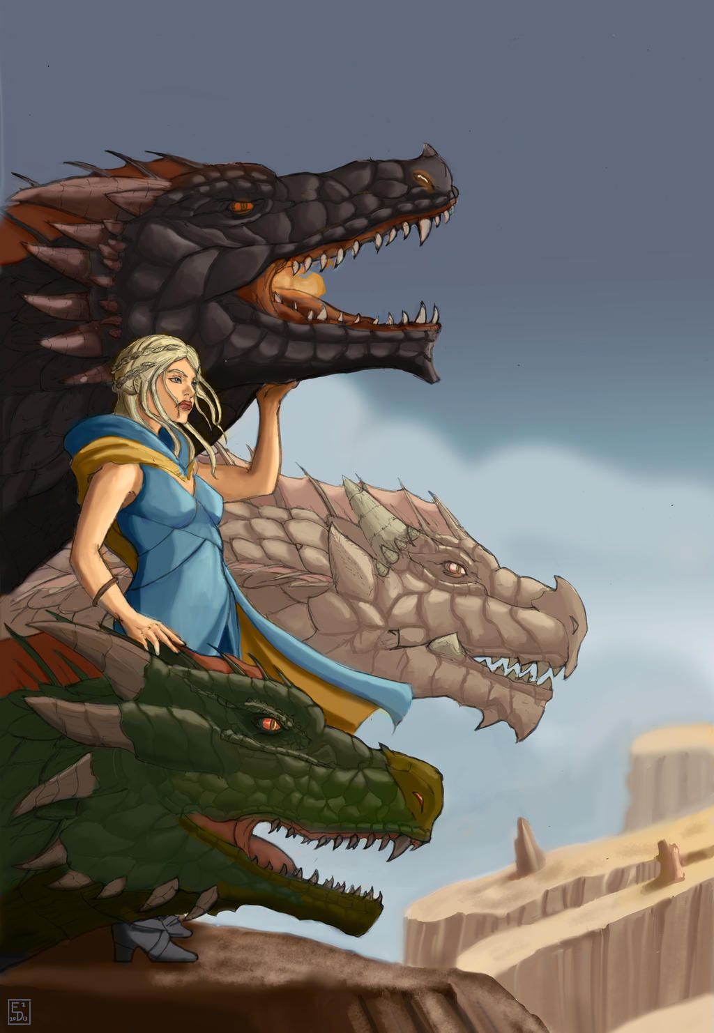 Dragons game of thrones colors -  Daenerys Targaryen Mother Of Dragons By Edsquared