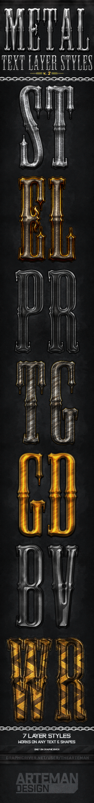 Metal Photoshop Text Styles V2 by TheArteMan