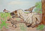 Daspletosaurus with offspring