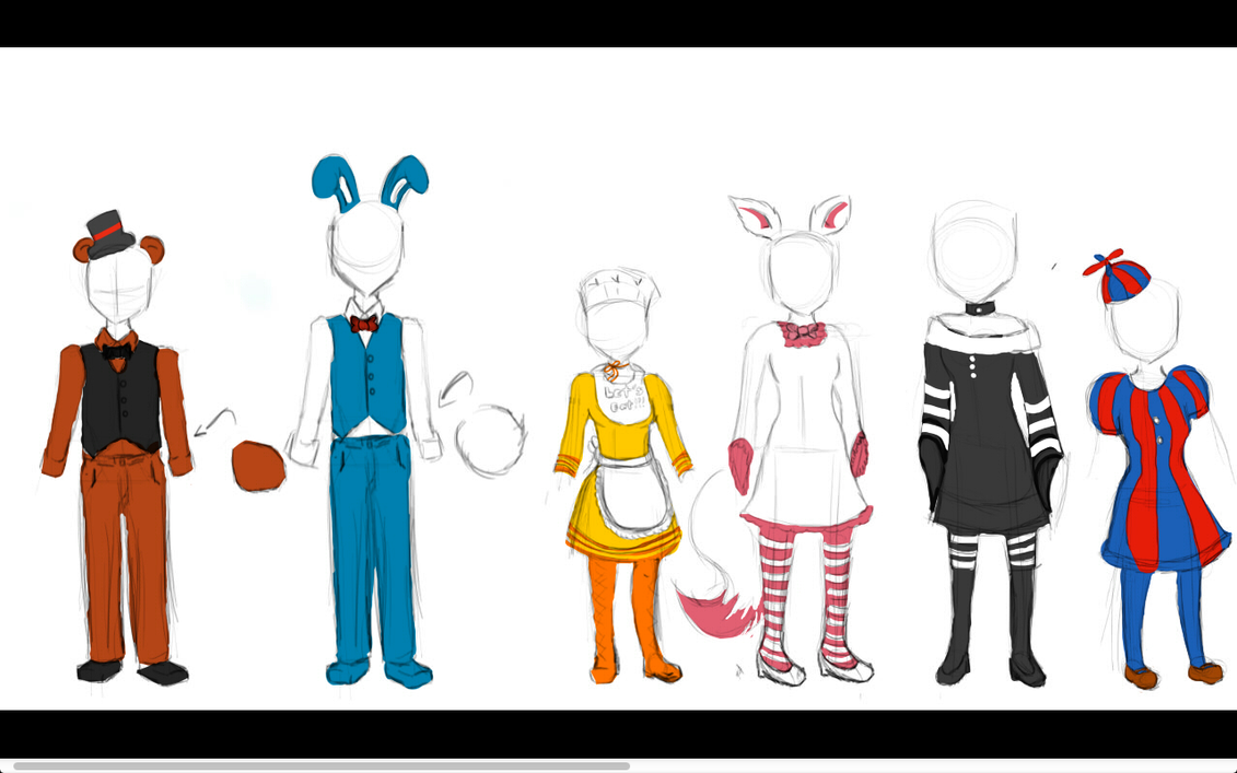 Five nights at freddy s 2 costumes speed paint by angelyck24 on