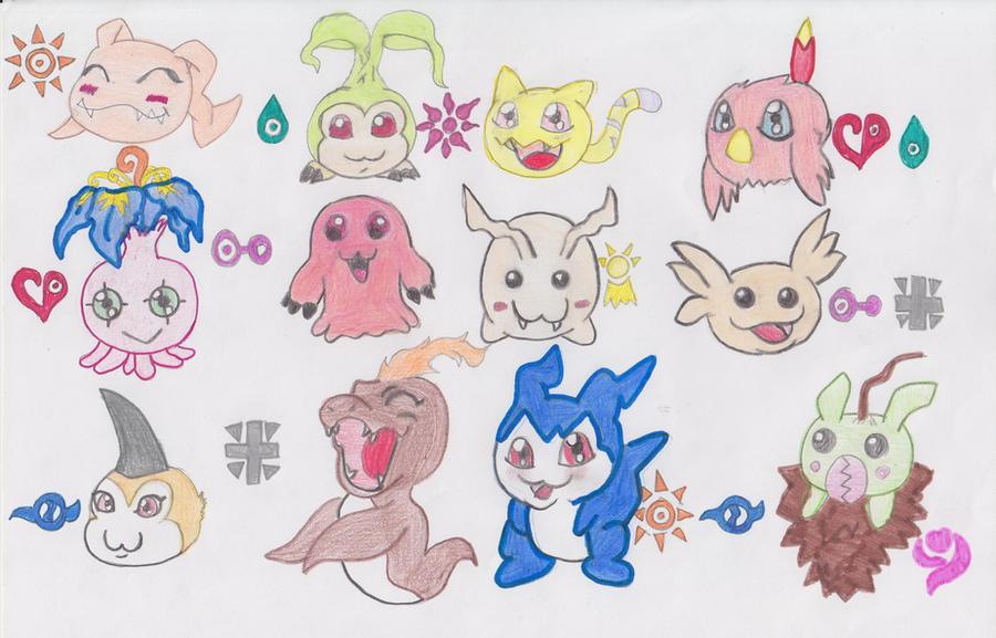 Bebes Digimon 1 y 2 by AsuruiHiane