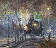 Horse-drawn Carriage On The Autumn Evening