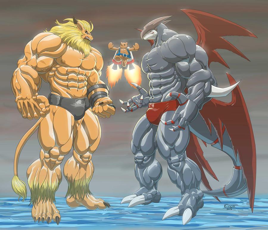 Commission Leomon vs Cyberdramon by Einom