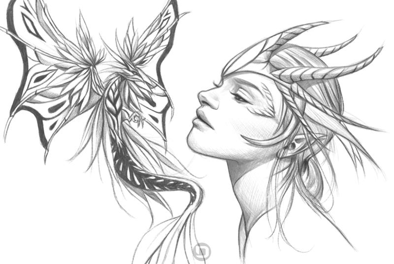 Dragon queen and a red tail fairy dragon wip by for Dragon and fairy coloring pages