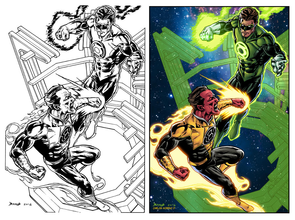 Green Lantern process by CarlosMorenoD-Art