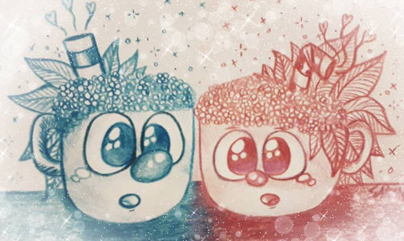 Floral Cuphead And Mugman
