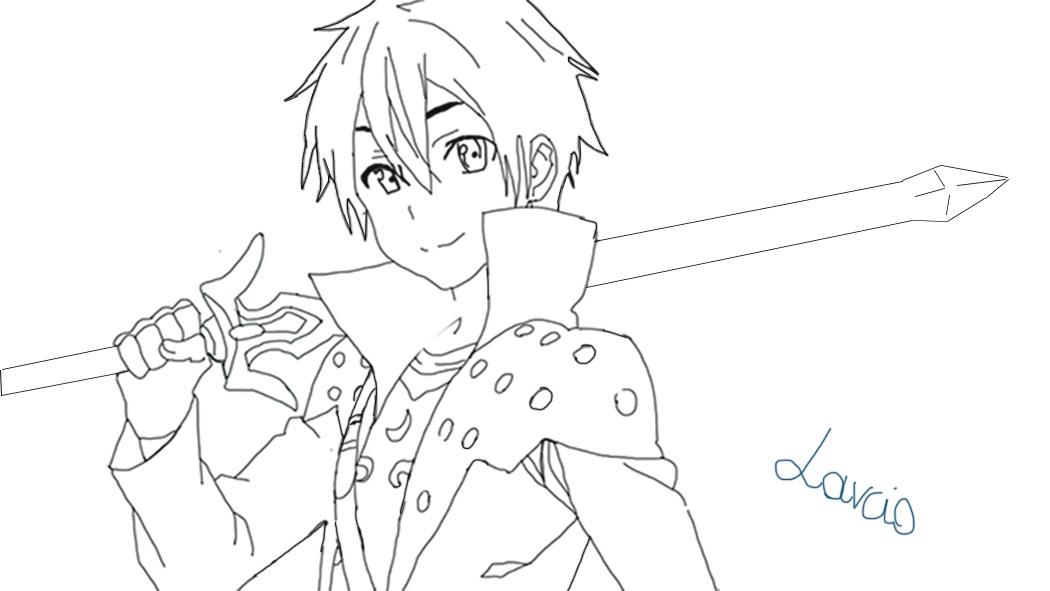 Kirito Lineart : Kirito lineart by laavenhart on deviantart
