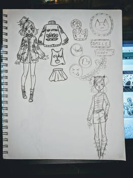 Amu Patches and Outfit Sketches