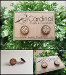 Viking Compass/Runic Compass/Vegvisir Wooden Stud by CardinalsCrafts