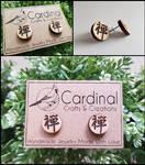 Chinese Zen Wooden Stud Earrings by CardinalsCrafts