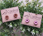 Wooden Doughnut/Donut Earring Studs