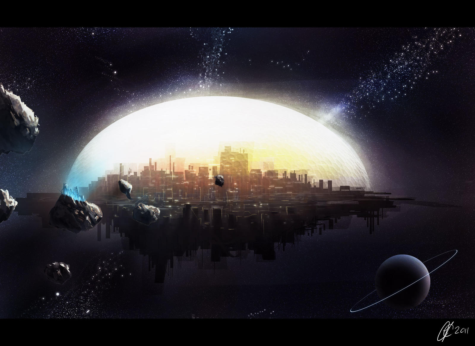 paintings planets and cities - photo #42