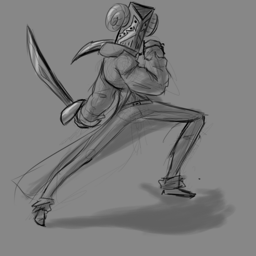 dude with 2 swords by misterPlata