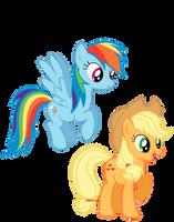 Rainbow Dash and Applejack by KestrelElk
