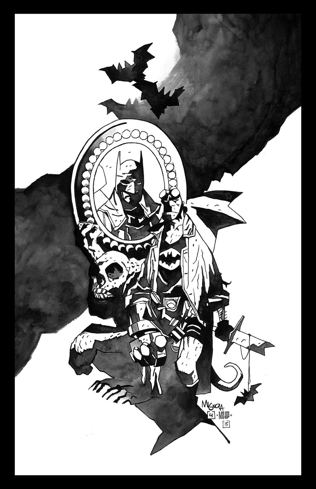 Hellboy Batman inks by PENICKart