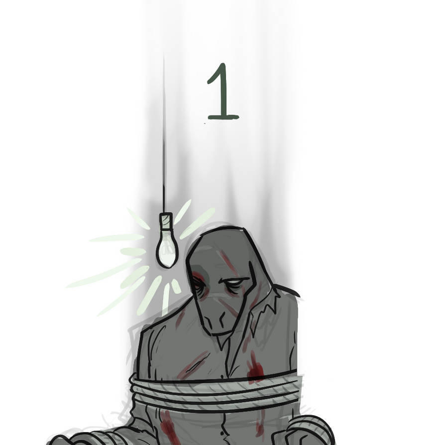 [One, Quarters sits tied to a chair and is heavily injured.]