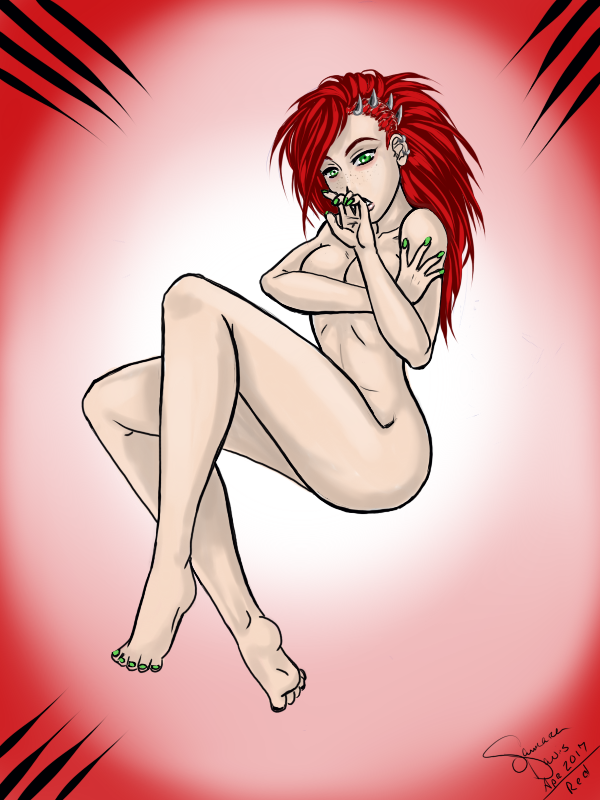 Red pinup by MalkavianOne