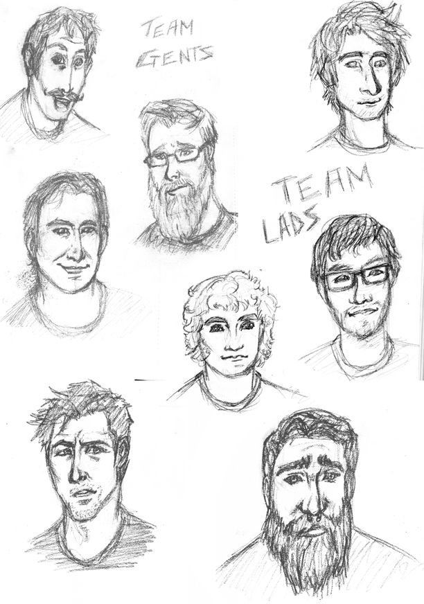 RoosterTeeth sketches by AnimeMan90