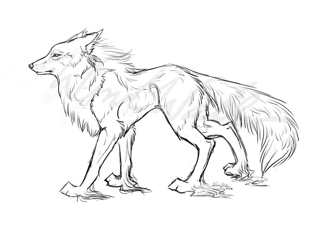 Fantasy Wolf Line-Art by I-WindWalker-I