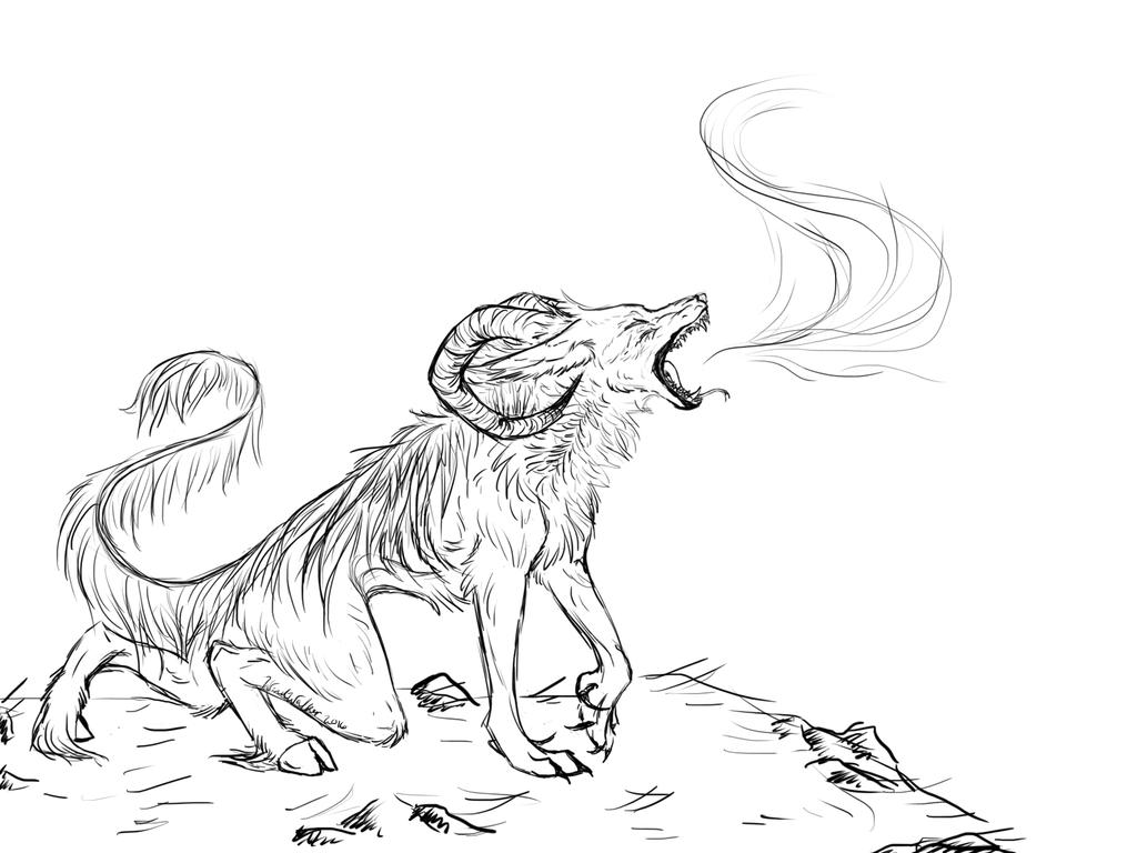 Hell Hound Uncolored (W.I.P) by I-WindWalker-I