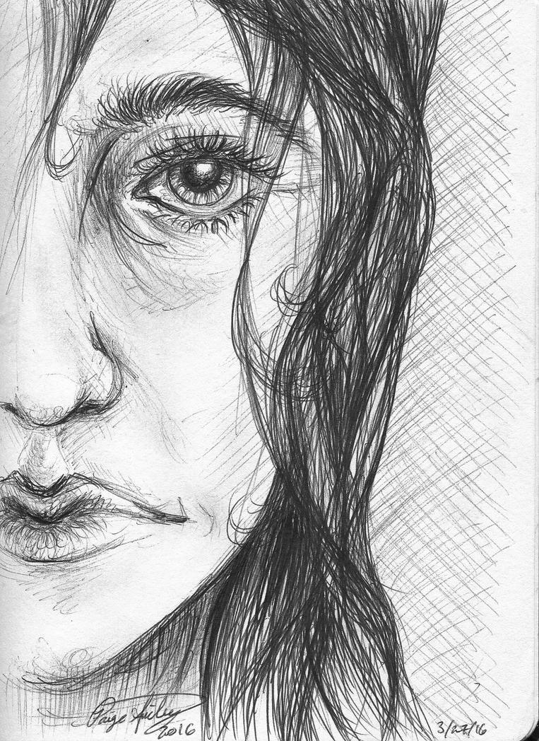 Older Woman - Pen Drawing by I-WindWalker-I