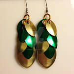 Green and Gold Scale Earrings