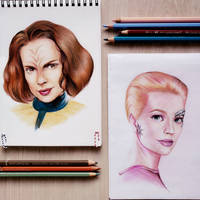 B'elanna Torres and Seven of Nine by aquacobalamin