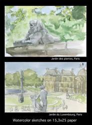 Watercolor sketches by Nekopico-pen