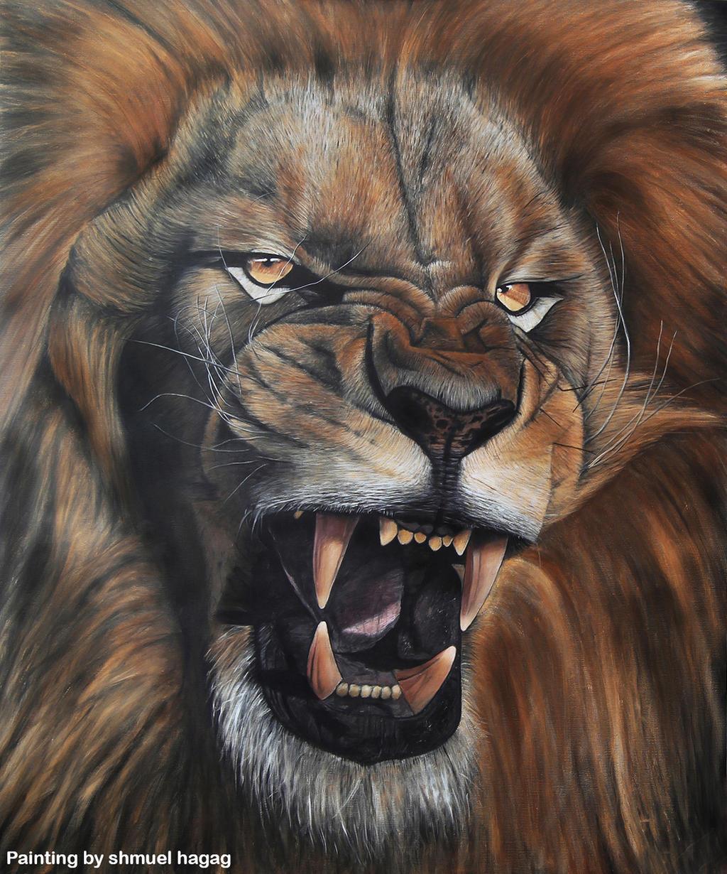 Lion Roar Oil Painting By Shmuel Hagag by ShmuelHagag on ...
