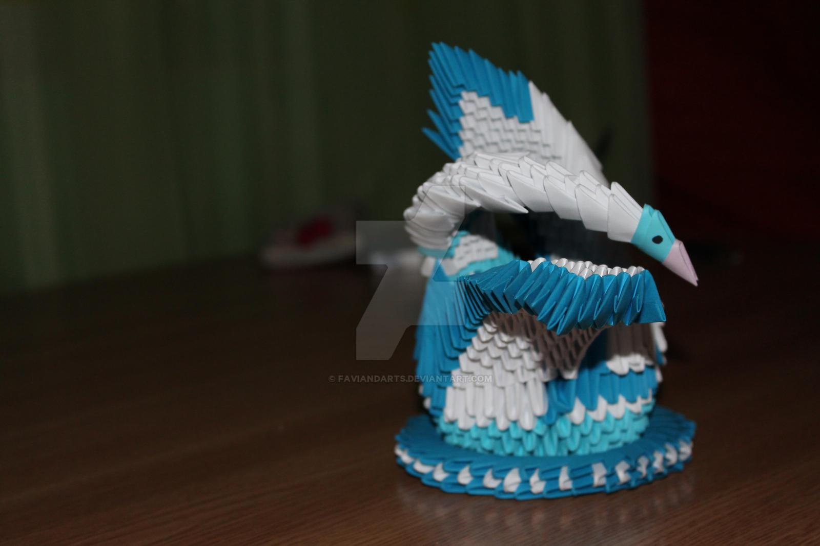 ORIGAMI 3D:Blue Swan by faviandarts on DeviantArt - photo#27