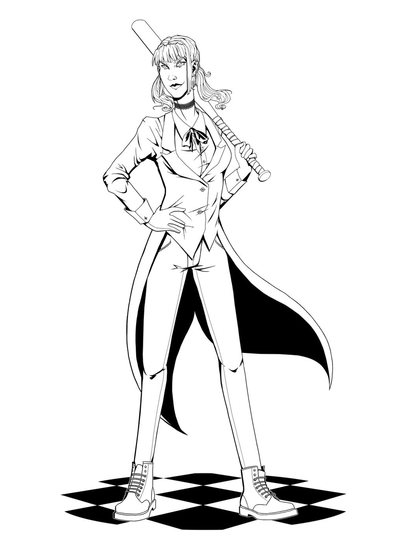 Line Art Harley Quinn : Harley quinn lineart by celestialen on deviantart