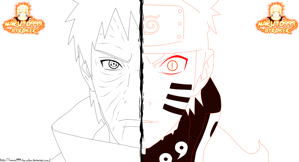LINEART NARUTO Y OBITO\'\' by NARUTO999-BY-ROKER on DeviantArt