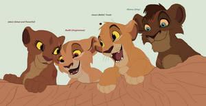 tlk ng Kiara's and Kovu's cubs on adventure