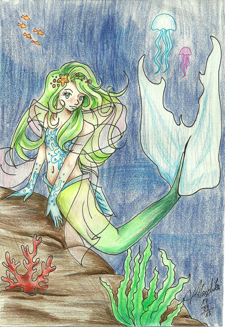 Little Green Hair Mermaid By Dreamingendless On Deviantart