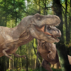 Oil painting T-Rex by Finnosaurus