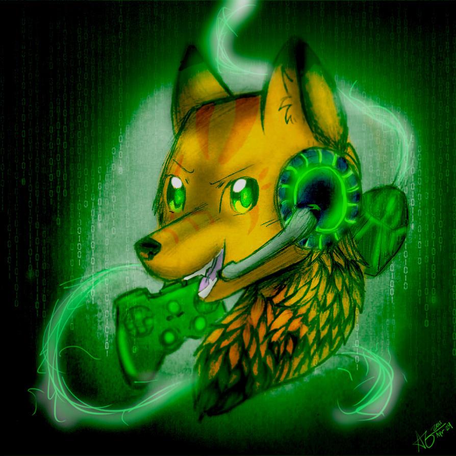 Gaming wolf by Midnightshewolf