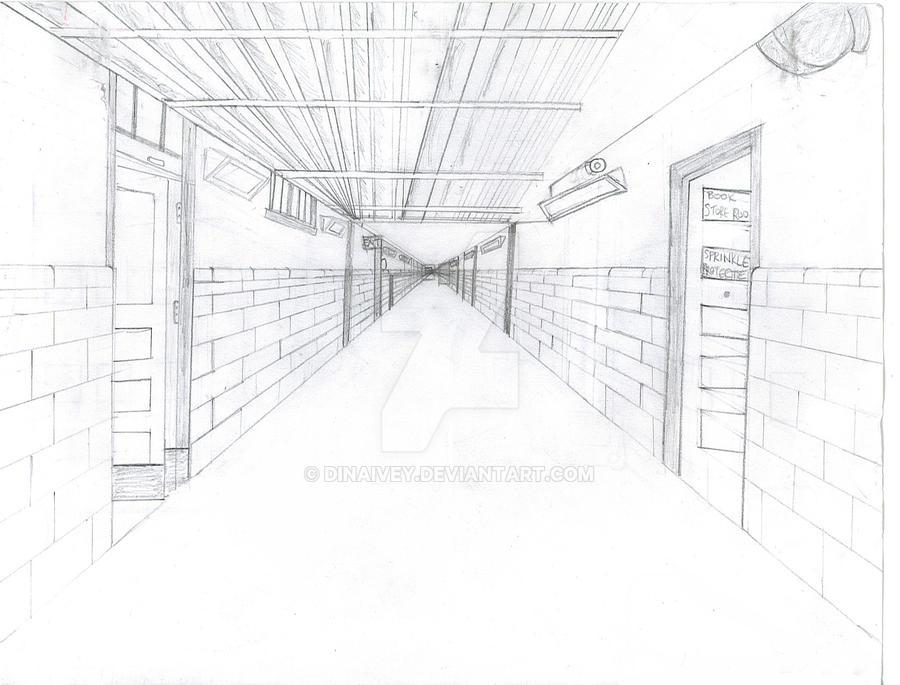 school hallway drawing - 900×685
