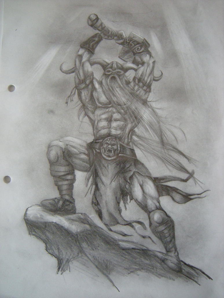 Pencil drawing of thor by curlywurly808 on deviantart for Viking pencils