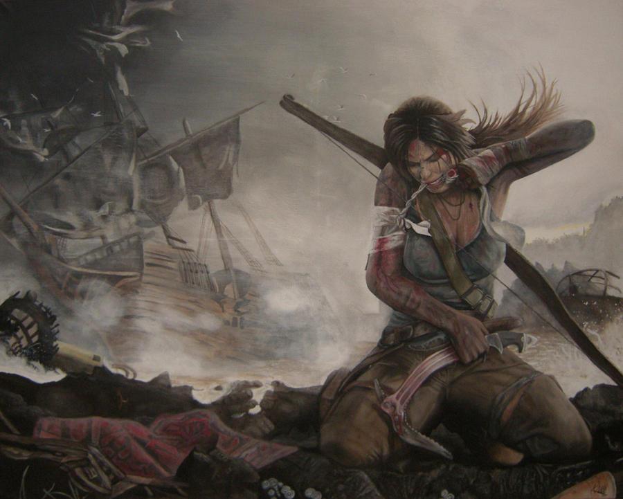 Tomb Raider 2012 Lara Croft - Acrylic Painting by CurlyWurly808