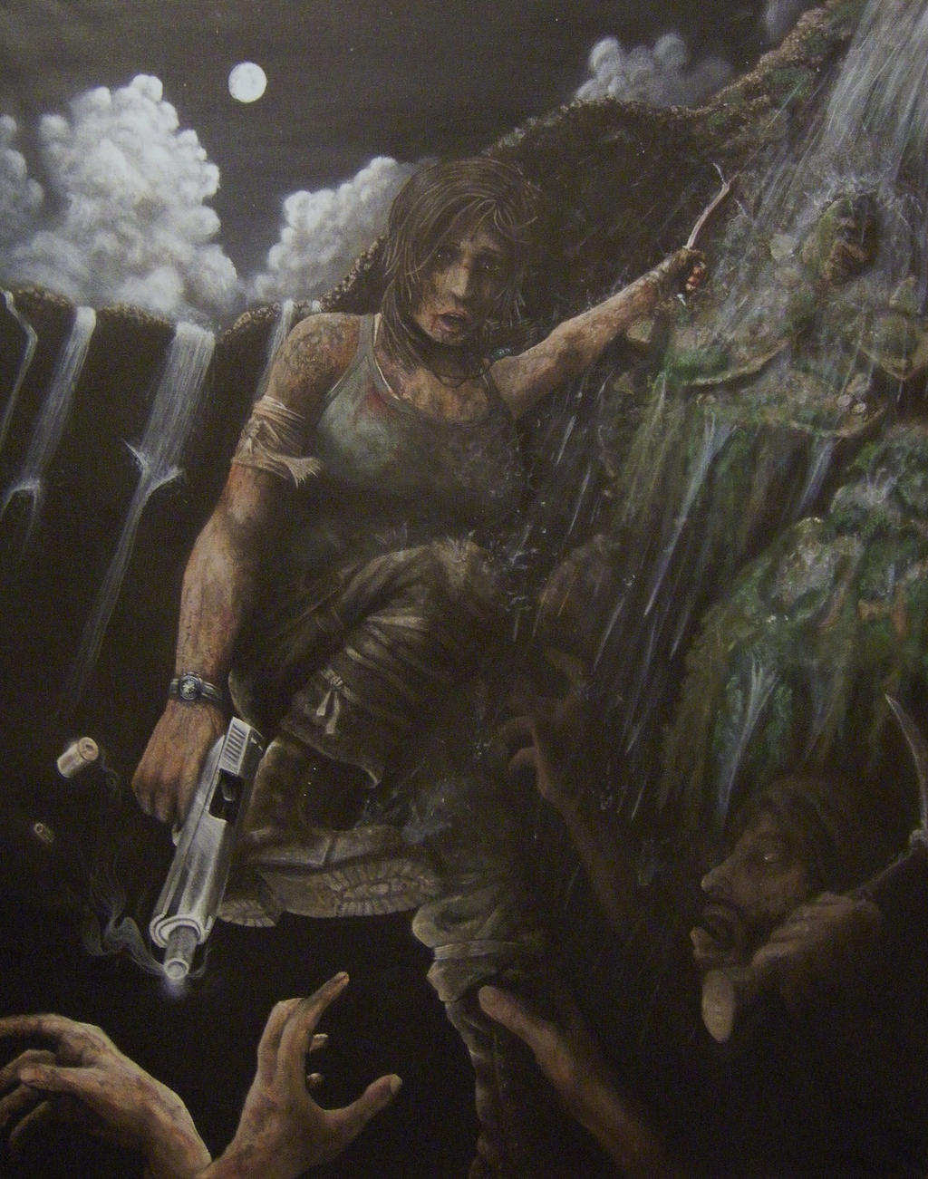 Cliffhanger - Acrylic Tomb Raider Painting by CurlyWurly808