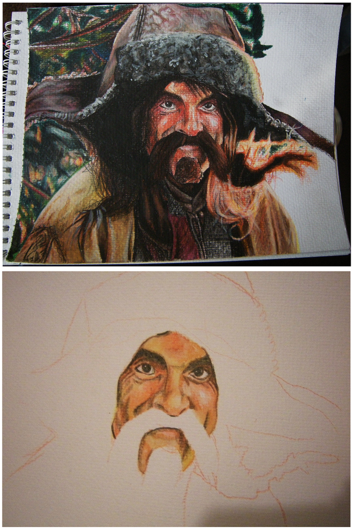 Bofur Watercolour Portrait -WIP by CurlyWurly808