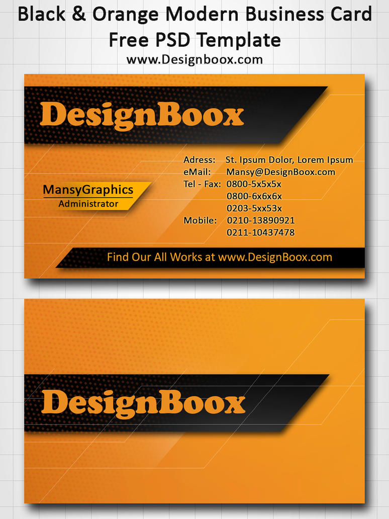 Black and Orange Modern Business Card Template by MansyDesignTools ...
