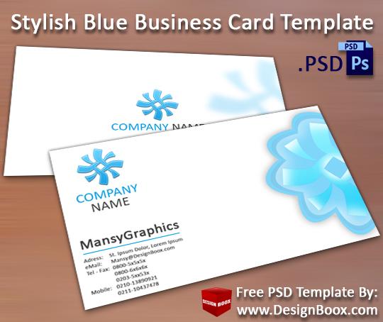 Stylish Blue Business Card Template PSD