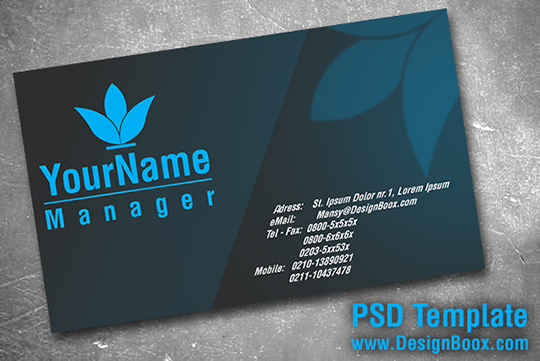 Gray and Blue Business Card PSD