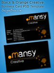 Black / Orange Creative Business Card PSD Template