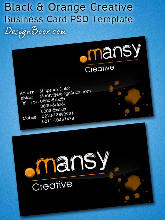 Black / Orange Creative Business Card PSD Template