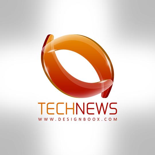 tech news orange glossy logo free psd by mansydesigntools