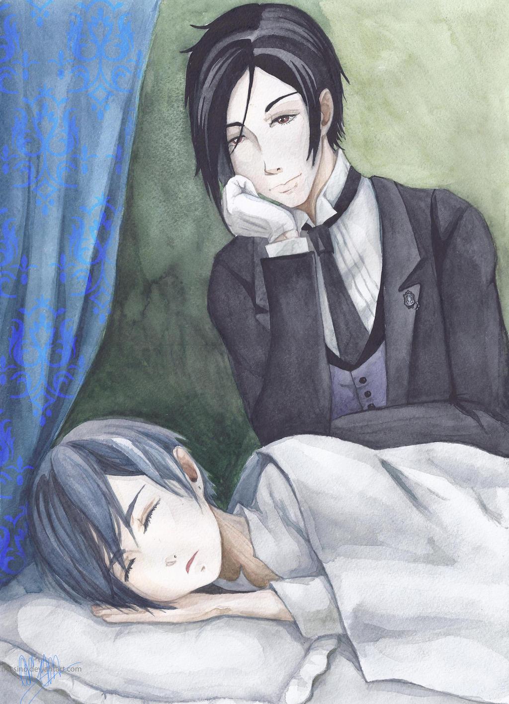 Sebastian and sleeping Ciel by frassino
