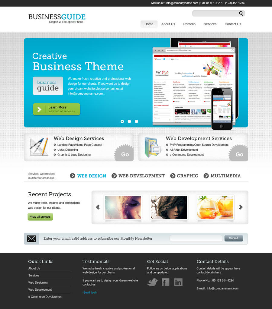 Business Guide - FREE PSD by themedesigner